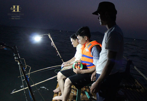 squid fishing activity when join into cruise