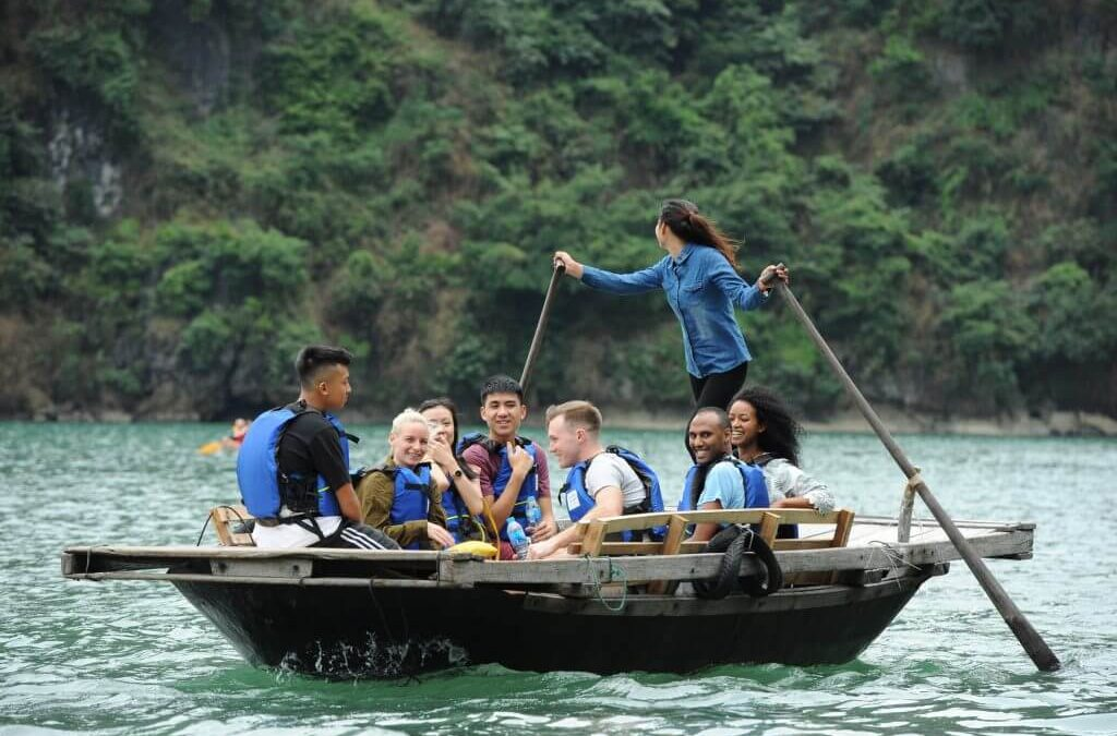 Experience rowing bamboo boat